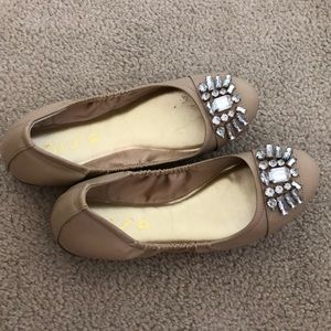 Nude Jeweled Flats
